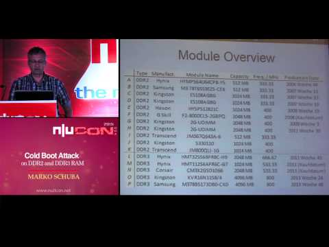 nullcon Goa 2015: Cold Boot Attack on DDR2 and DDR3 RAM by Marko Schuba