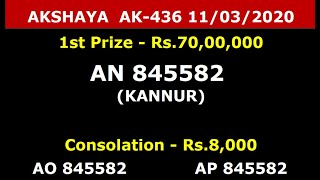 11-03-2020 AKSHAYA AK-436, LOTTERY RESULT TODAY, KERALA LOTTERY, RESULT 11-03-2020 AKSHAYA