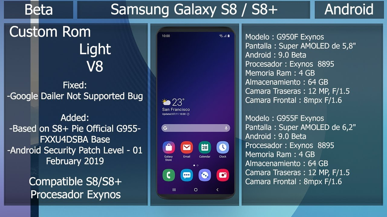 Rom Light V8 - Android Pie Oficial - Samsung Galaxy S8/S8+