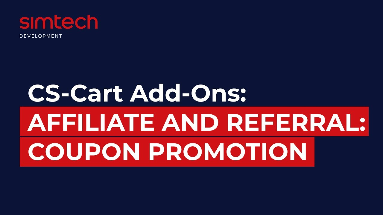 Cs Cart Add Ons Affiliate And Referral Coupon Promotion Youtube
