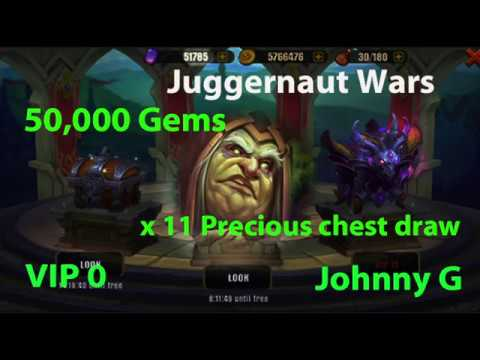 Juggernaut Wars - Spent 50K Sapphire Gems On Precious Chests Draws | 10 X 11 Draw