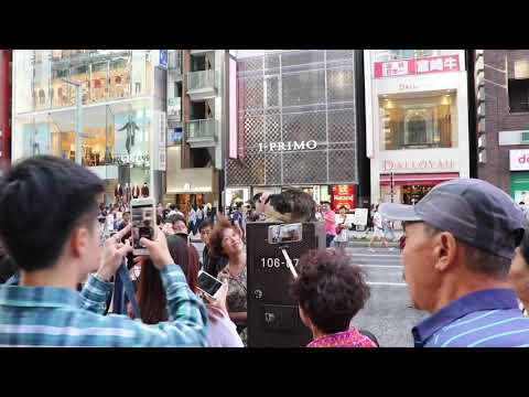 People going crazy for a cat outside of Ginza Six in Tokyo.