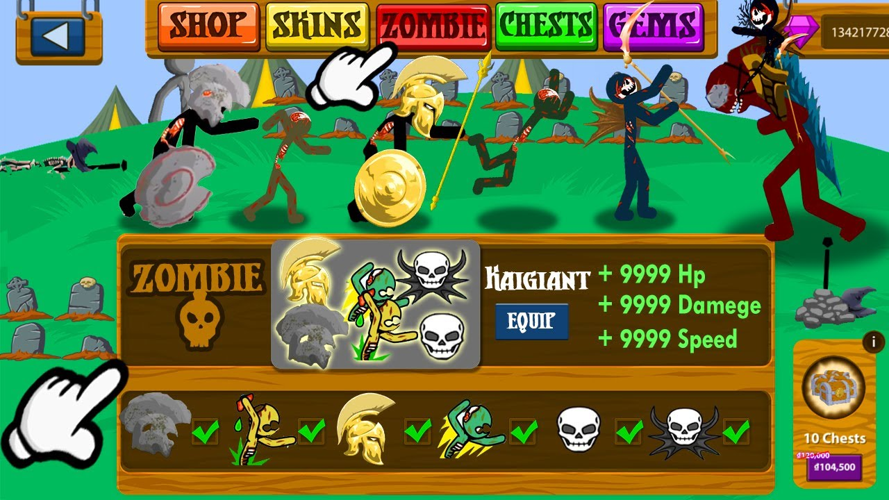 NEW UPDATED ZOMBIE SELECTION AND CONTROL MODE   STICK WAR LEGACY HACK