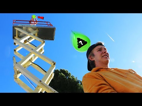 Dropping GROSS Water Balloons on People from 30ft Tower!!