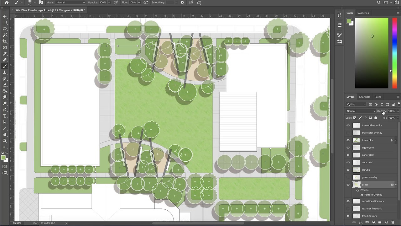 Using Pattern Overlay to Create Textures in Photoshop Site Plan Renderings