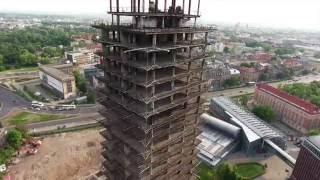 Wieżowiec Szkieletor Kraków 2016 - video z drona. Biurowiec NOT. TreiMofra Tower Slow motion