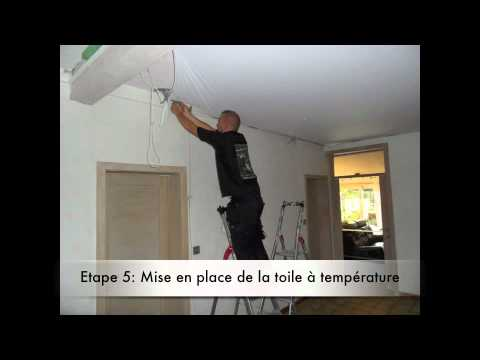 plafond tendu en 6 tapes par toile de r ve youtube. Black Bedroom Furniture Sets. Home Design Ideas