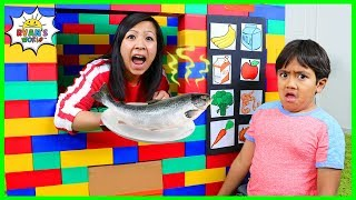 Download Ryan Pretend Play with Lego Vending Machine Healthy Snacks!!! Mp3 and Videos