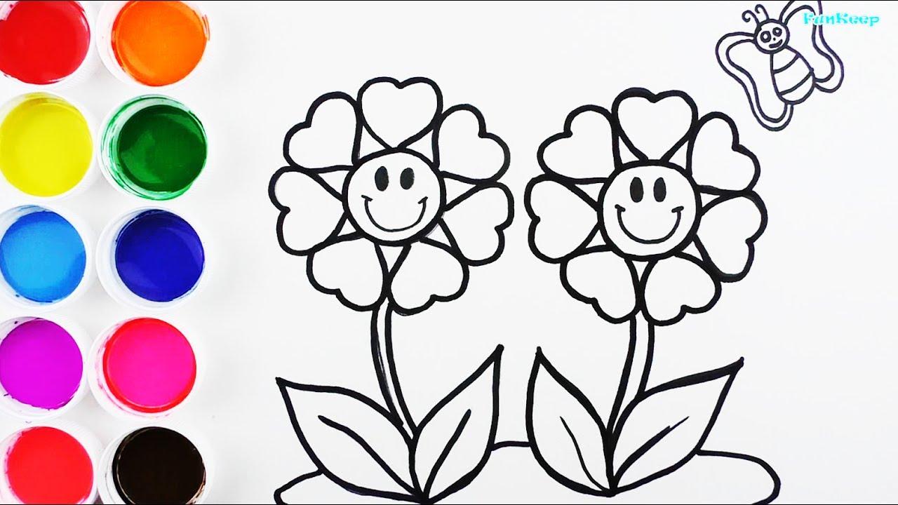Cómo Dibujar y Colorear Flores de Arco Iris   Videos Para Niños