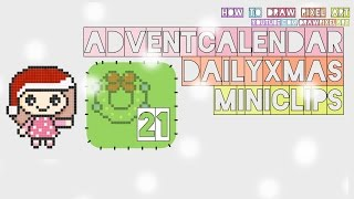 how to draw xmas wreath | 21st dec adventcalendar | xmas christmas doodle | pixel art perler beads