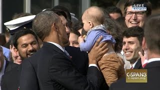 President Obama & PM Trudeau greet baby at White House (C-SPAN)