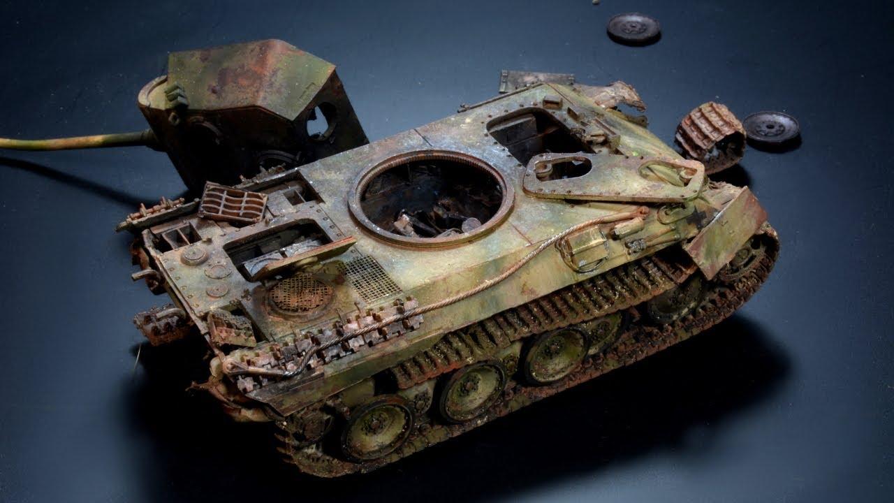 Wrecked Panzerkampfwagen V Panther - 1/72 Zvezda - Tank Model