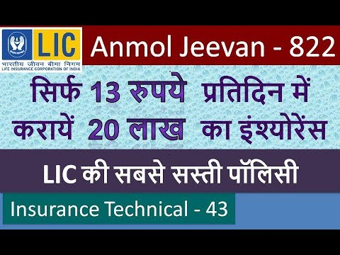Anmol Jeevan Plan No 822 Term Insurance Policy In Hindi Youtube