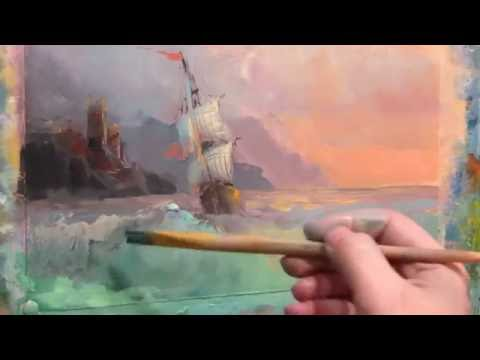 Seascape on motives paintings by Aivazovsky. Oil. Part 2.