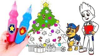 PINTA Y COLOREA 🐾🌈 Pintamos y coloreamos a la Patrulla Canina en Navidad