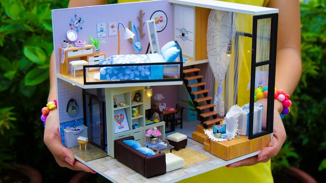 4 Diy Miniature Doll House Rooms Youtube