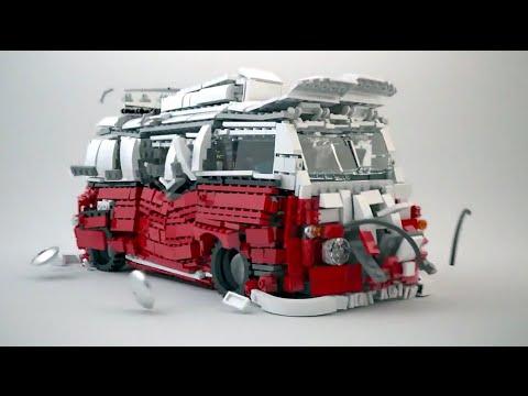 Lego Volkswagen Camper Van Explosion Lego 10220 Youtube