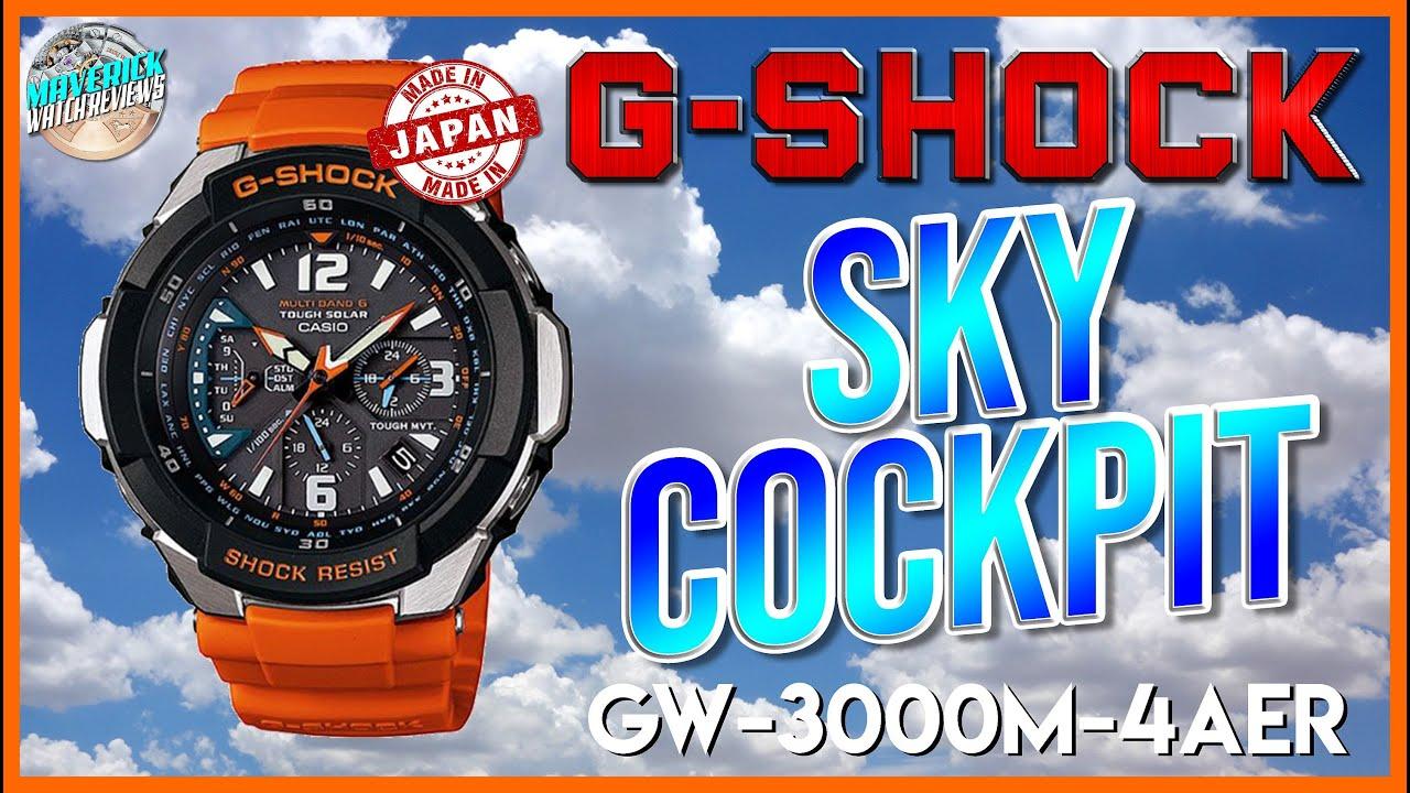 One Of My Grails!   G-Shock Sky Cockpit 200m Solar Atomic Quartz GW-3000M-4AER Unbox & Review