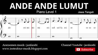 not balok ande ande lumut - piano level 1 - lagu daerah jawa tengah - doremi / solmisasi