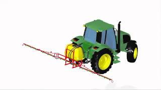 Agricultural machinery design. Tractor with 3 point linkage