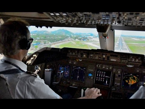 KLM Martinair 747-400F  - Landing Madras, India - Cockpit View