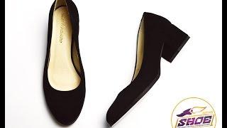 Черные туфли женские замшевые Ari Andano на низком толстом устойчивом каблуке