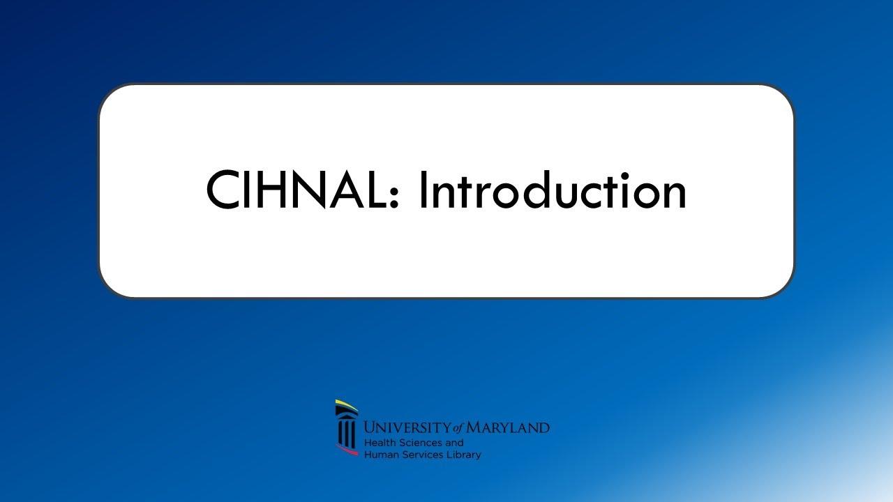 CINAHL Video Thumbnail