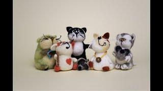 Пошаговый мастер класс по сухому валянию из шерсти. Как сделать маленьких разноцветных котят.