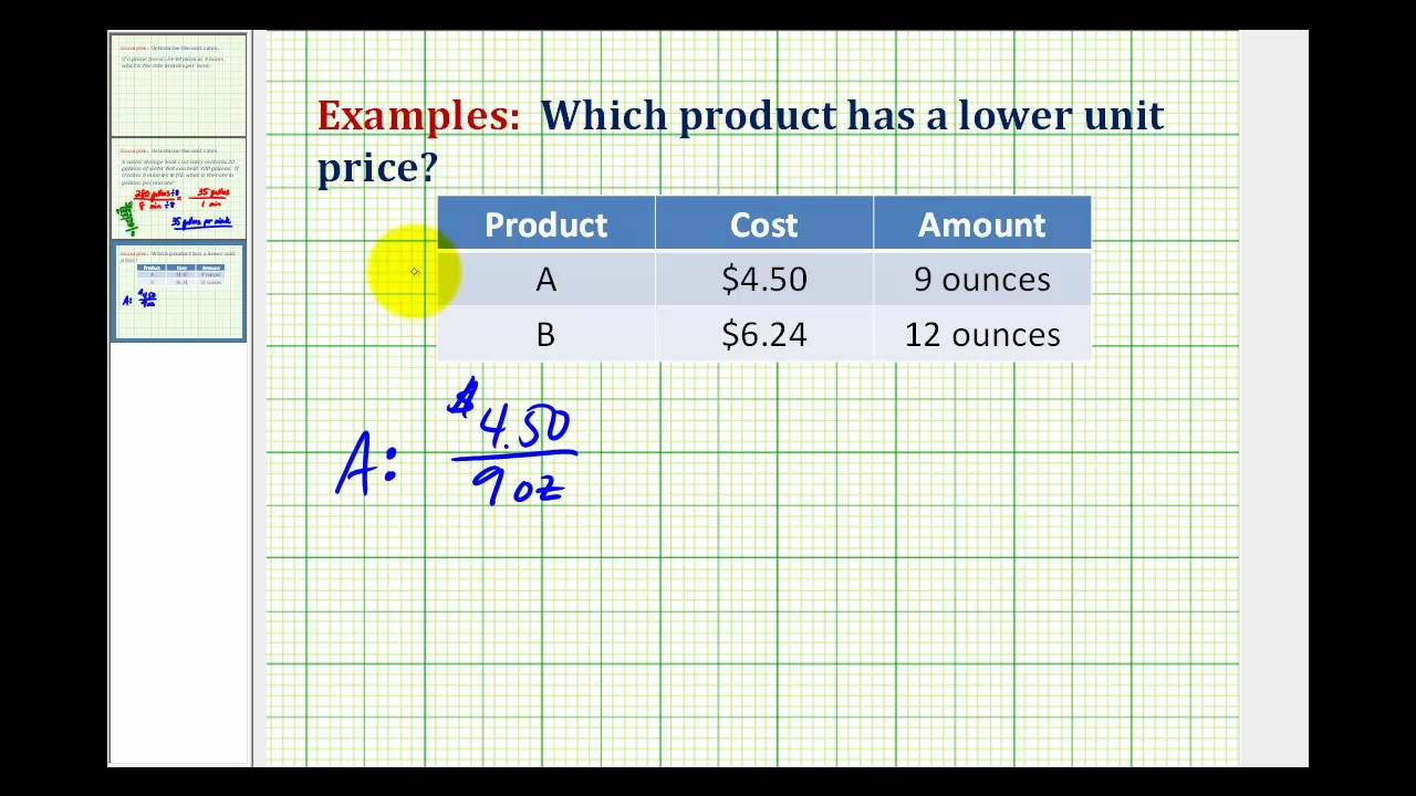 small resolution of Example: Determine the Best Buy Using Unit Rate - YouTube