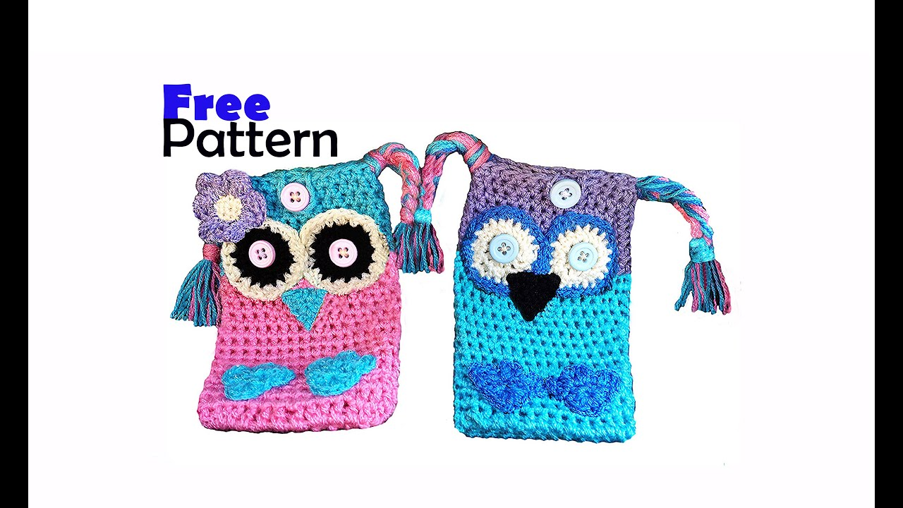 Crochet owl cell phone case cover pouch holder youtube dt1010fo