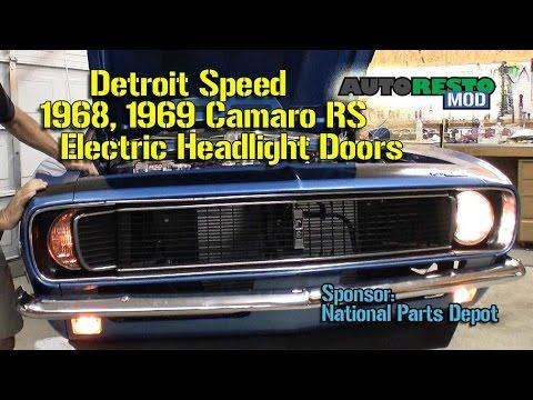 Camaro RS Rally Sport 1968 1969 Detroit Speed Electric Headlight Door Kit Episode 174 Autorestomod 2