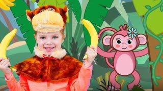 Bebe mono plátano | Canciones de animales  | Baby Shark Canción | Canciones Infantiles con Nicole