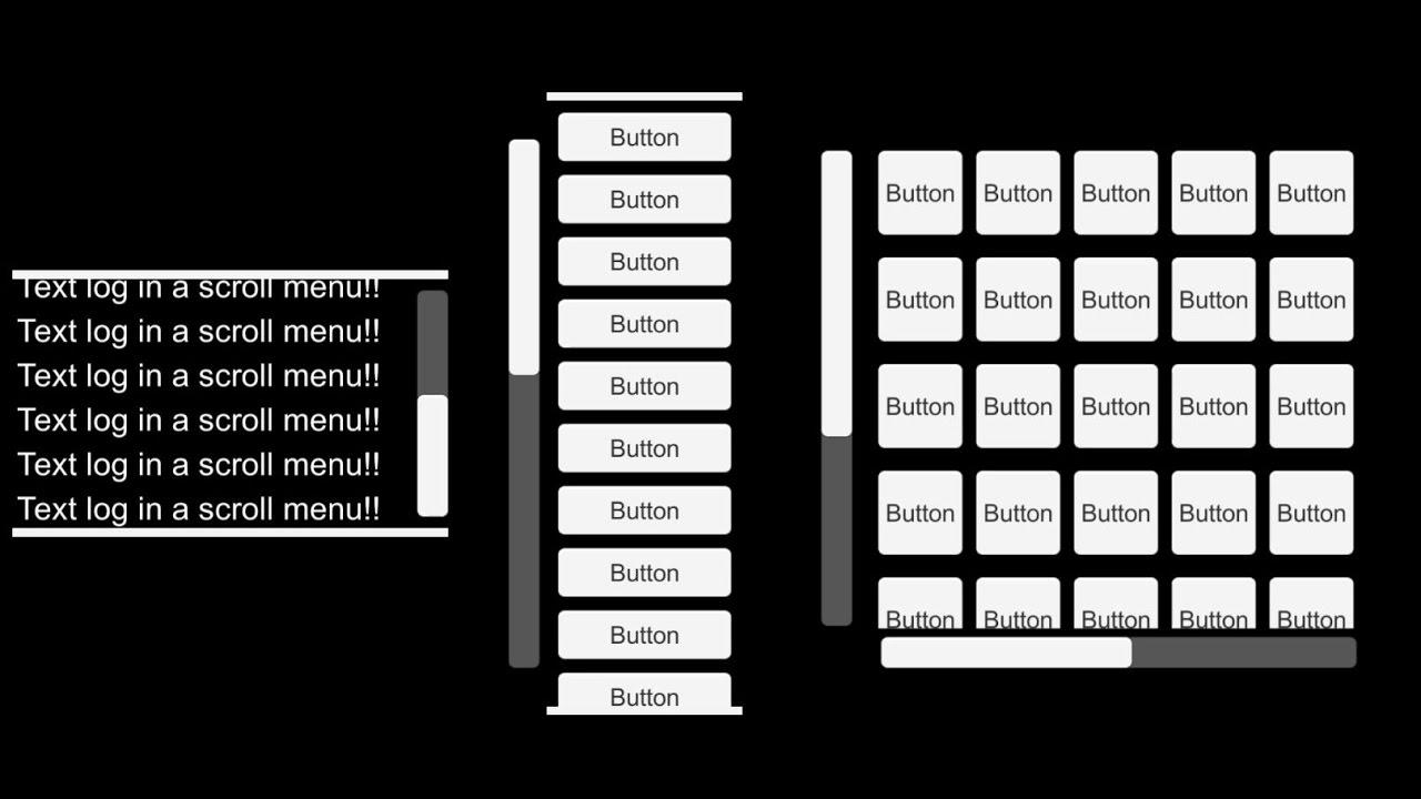 Unity UI - Scroll Menu Pt 2: Vertical List - A scrolling, vertical list of  buttons