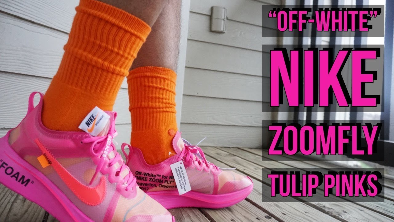 08ddb92eaf641 OFF-WHITE NIKE TULIP PINK ZOOM FLY REVIEW   ON-FEET!!!!!!!!!! - YouTube