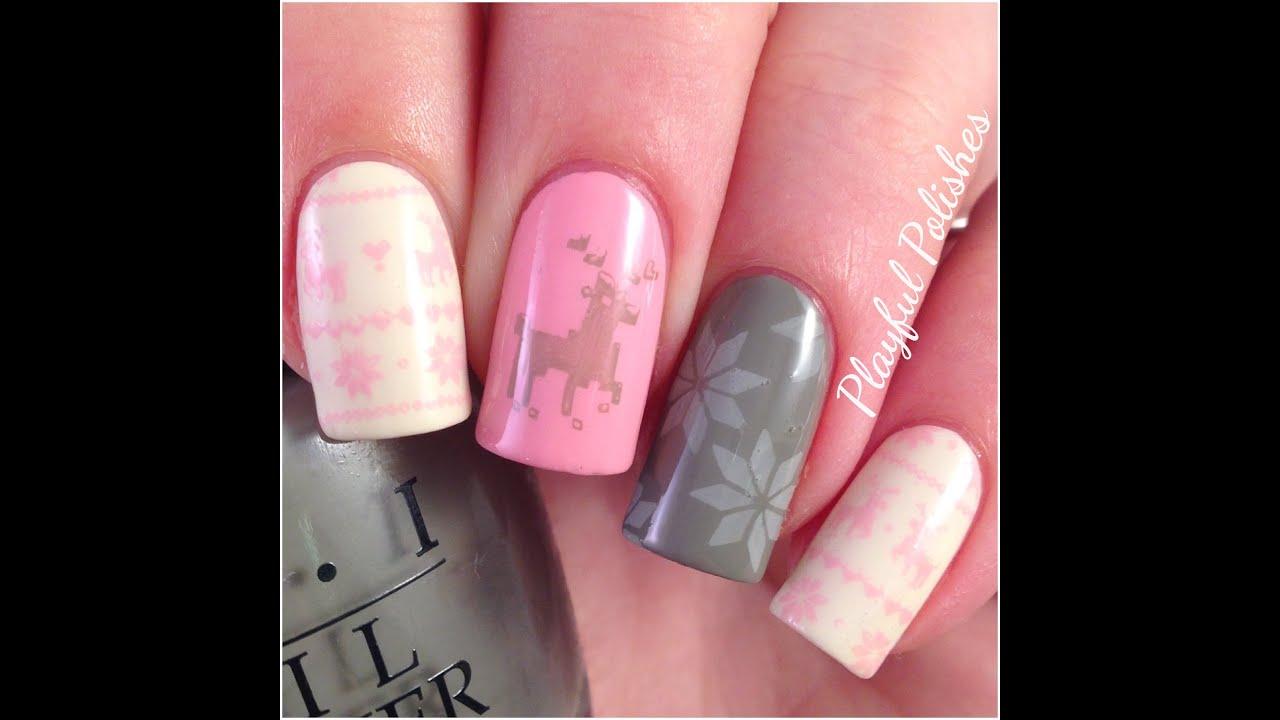 Pastel Fair Isle Nail Art/Christmas Nails - YouTube