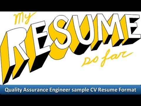 Quality Assurance Engineer sample CV Resume Format - YouTube