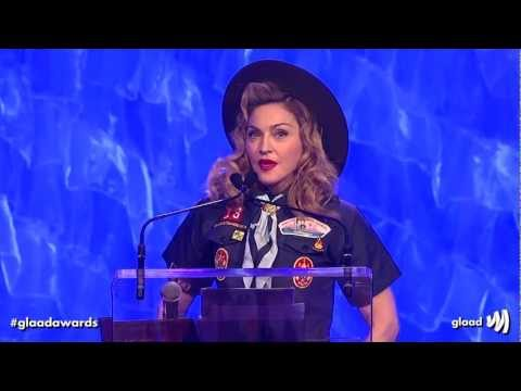 Madonna presents the Vito Russo Award to Anderson Cooper at the #glaadawards