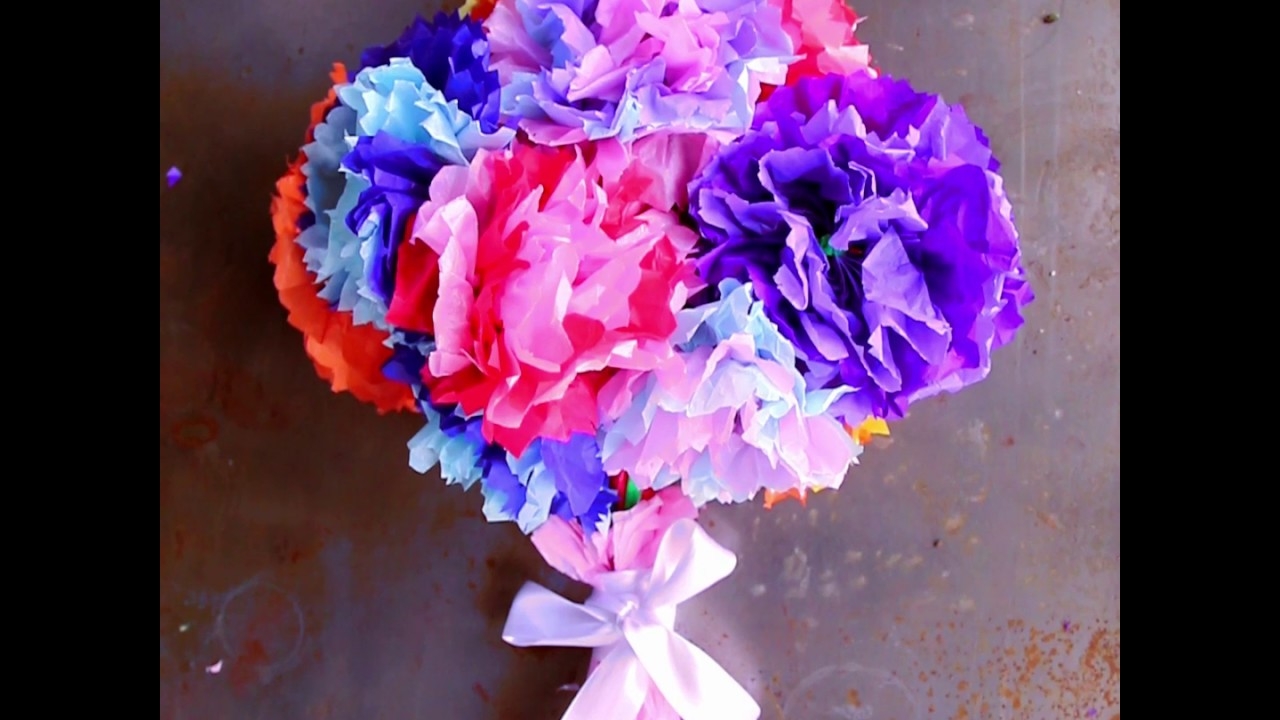 Kids Craft Tissue Paper Flowers Youtube