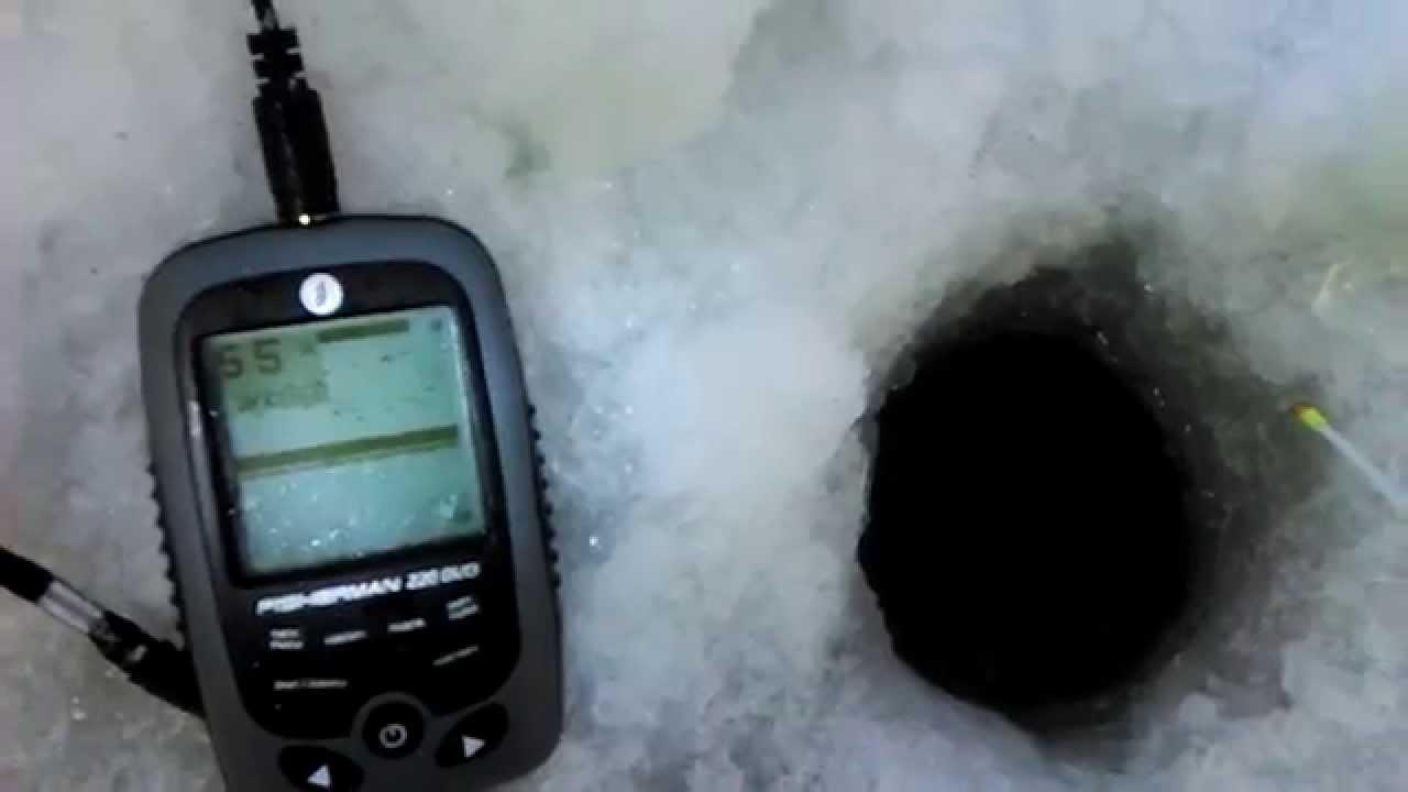 Тест эхолота FISHERMAN 220 DUO на льду нашел огромный косяк рыбы