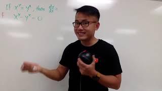 derivative of x^y=y^x, by calc 1 life hack