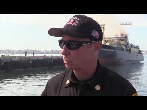 San Diego Bay: Large Boat On Fire 09292017