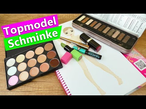 Topmodel malen mit Schminke?! Geht das?! DIY Make Up Experiment | Party Kleid Topmodel
