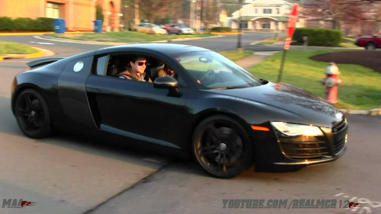 matte gray lamborghini lp 560-4 and blacked out audi r8 - youtube