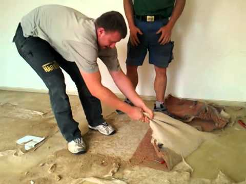 contec bull teppich und pvc entfernen removing carpet and pvc funnydog tv. Black Bedroom Furniture Sets. Home Design Ideas