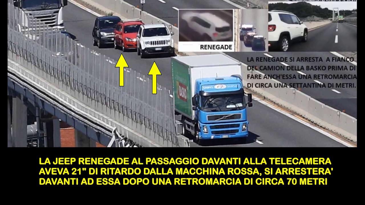 Ponte Morandi analisi finale Jeep Renegade e macchina rossa