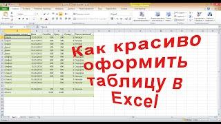как красиво оформить таблицу и установить сортировку  Excel