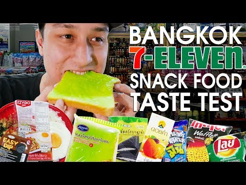 BANGKOK 7-11 SNACK FOOD TASTE TEST - Strange Snacks In THAILAND 2018