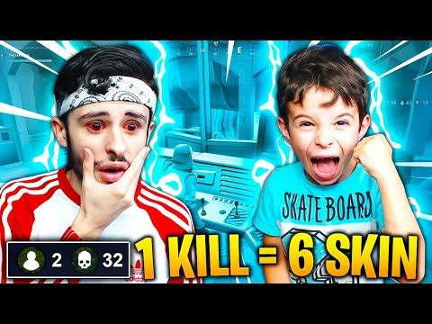 1 KILL = 6 SKIN à CHAQUE KILL que MON PETIT FRÈRE (6 ANS) FAIT sur FORTNITE: Battle Royale !!