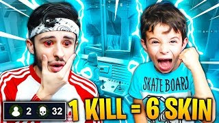 "1 KILL - 6 SKIN FREE FOR MY PETIT FREE ""6 YEARS"" on FORTNITE: Battle Royale!! (EPIC REACTION)"