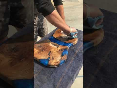 Epoxy resin river bass guitar